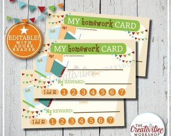 Homework Punch Cards | Schoolwork Punch Card | Editable Homework Card | Orange | Printable Punch Card | Instant Download | Editable