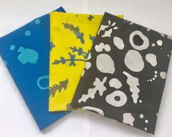 Alison Glass Handcrafted Cotton Fabric Bundle-Blue,Yellow,Charcoal,Gray-Modern
