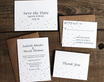 confetti polka dots wedding invitation suite - 50 save the dates, invitations, response cards, thank you cards