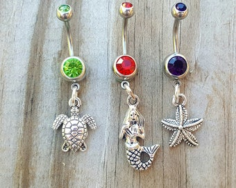 Beach Theme Belly Button Ring Set, Mermaid Belly Ring, Starfish Belly Ring, Sea Turtle Belly Ring, Navel Ring, Beach Nautical Jewelry.