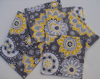 Fabric Coasters Yellow Grey Floral Mod Flowers Six