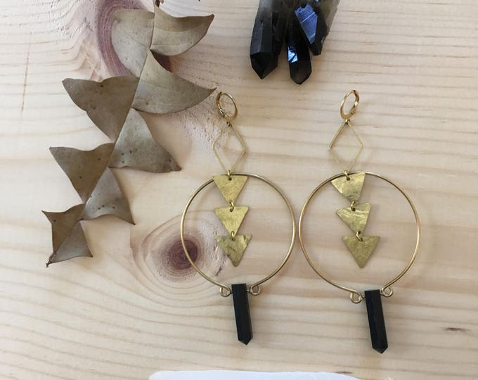 Laurel Earrings-Black Tourmaline Spikes and Hammered Brass Geometric Statement