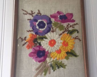 Vintage Crewel, Floral Crewel, Crewel, Vintage Flowers, Colorful Flowers, Yarn Art, Wall Hanging, Vintage Wall Decor