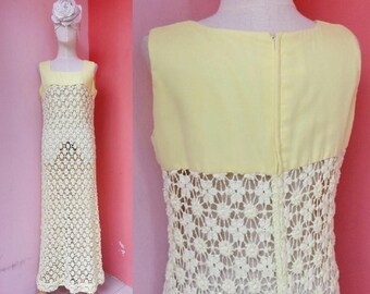 Yellow Dress 70s Dress Knit Dress Vintage Dress 1970s Dress Women Hippie Dress Boho Dress Bohemian Dress Maxi Dress Long Dress Sleeveless