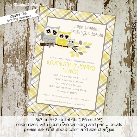 surprise gender reveal owl baby shower invitation diaper wipe brunch co-ed baby shower two moms dads yellow gray plaid 1446 Katiedid Designs