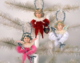 Cupid Valentine Ornaments - Valentines Day Party Decor - Vintage Style Chenille Ornaments