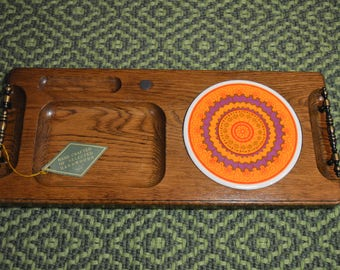 Vintage Imperial handcrafted hardwood serving platter / Cheese board.