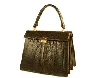 Vintage Snakeskin Purse 50s Handbag Purse Brown Color
