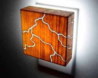 Wood  Night Light lantern laser cut LED - Rivers of Lightning