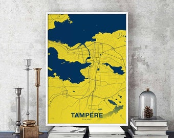 Tampere map art Etsy