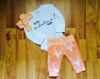 Baby Coming Home Outfit - Baby Girl - Deer Print - Coral print - Let the Adventure Begin