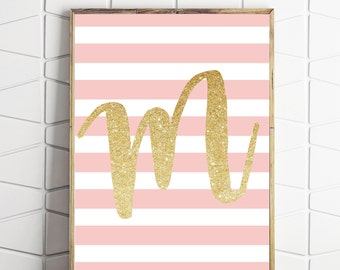 gold kids room decor, monogram print, gold and pink decor, printable wall art, alphabet letter M, initial letter M