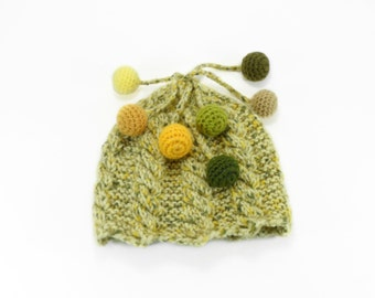 Hand Knitted Baby Hat - Yellow Green, 0 - 6 months
