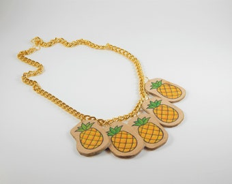 Pineapple necklace, Colorful necklace, Statement Necklace, Wooden necklace, Colorful jewelry, Unique jewelry, Gift for her, Gift for sister