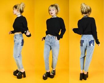 Blue Denim High Waist Mom Jeans Custom Clear PVC Pockets S