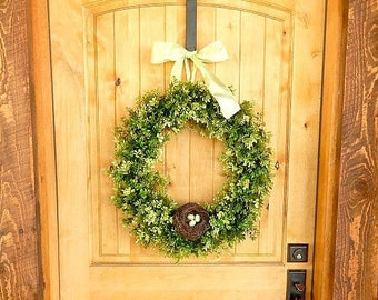 SPRING Boxwood Door Wreath-Spring Home Deco-Large Door Wreath-Easter Boxwood Wreath-Summer Door Wreath-Custom -Choose Scent and Ribbon