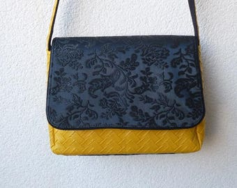 Mustard and black Messenger bag