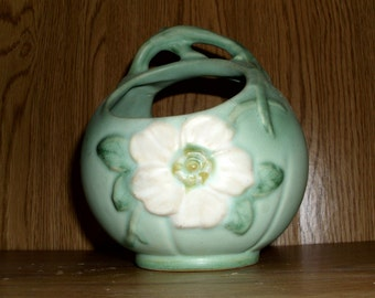 Weller Wild Rose basket by Weller Pottery Circa 1930