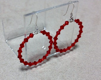 SALE Sterling Silver Earrings Round Hoops Austrian Crystal Red Beads CL968A