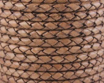 5mm - 1 Yard, Braided Leather, Braided Cord, Bolo Cord - Brown