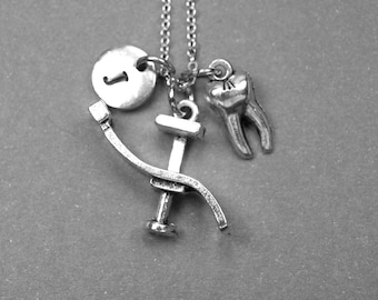 Dentist necklace, Dentist chair necklace, dental chair charm, tooth necklace, tooth jewelry, personalized, initial charm, tooth charm