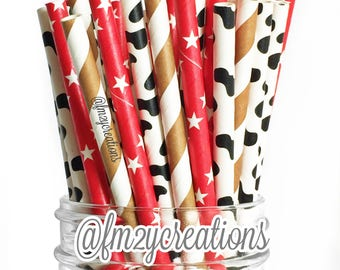 Cowboy Paper Straws | Farm Paper Straws | 1st First Boy Birthday | Cowboy Birthday Party Decorations | Farm Birthday Party Western Birthday