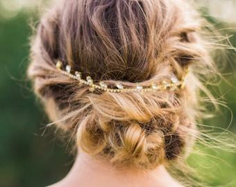 Gold Crystal Headband Bridal Headband Silver Headband Beaded Headband Beaded Hair Vine Hair Chain Bridal Hair Wreath Bridal Headpiece #146