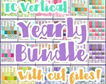 Erin Condren Planner Stickers Printable Bundle Yearly Planner Stickers - 24 Sheets - Fits Erin Condren (Vertical) Planner with Cut Files
