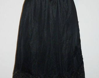 Vintage Black Nylon Half Slip Petticoat ~ 1960's Black lacy Half Slip ~ Black Slip ~ Vintage Slip   M-L