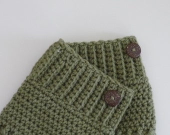 Crochet Boot Cuffs Button Accent Crochet Boot Topper Leg Warmer in Light Sage - Ready to Ship  - Direct Checkout - Gift for Her