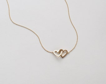 20% OFF Simple Double Heart Necklace, Dainty Heart Link Necklace, Minimal Layering Heart Necklace in Silver, Gold, Rose Gold #D96