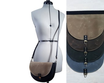 Saddle Bag Half Moon Crossbody Bag - Waxed Canvas - Change the Flap Small Black Leather Cross Body Strap Purse Circle Grey Brown Tan Green