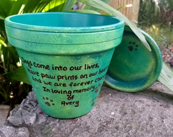 Pet Memorial Gifts - Painted Flower Pots - Dog Memorial - Cat Memorial - Pet Sympathy Gifts - Personalized