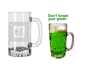 Irish gifts,Irish Mugs,Personalized Beer Stein, St. Patrick's Day Etched Glasses, beer mugs, Monogrammed beer mugs