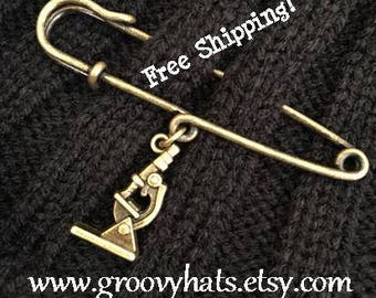 Microscope Science Safety Pin Brooch - Antique Brass - Groovy Hats - Free Shipping