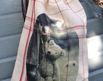 """sac à doudou """"mon doudou"""" en coton épais à carreaux"""