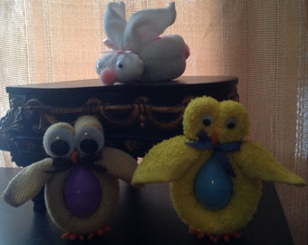Wash Cloth Animals- Bunny, Chick, and Owl