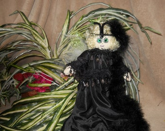 Cajun Fairy Bebe Noir. Original Sha Bebe Cloth Doll Made by Cajun Doll Artist, Mary Lynn Plaisance in  Louisiana. Art doll collectibles.