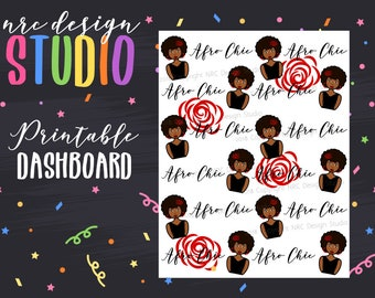 SALE Planner Dashboard Printable, Afro Chic Planner Girl Digital Paper, Printable Planner Paper - Afro Chic No. 01