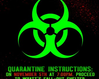 You've Been Infected party invitation