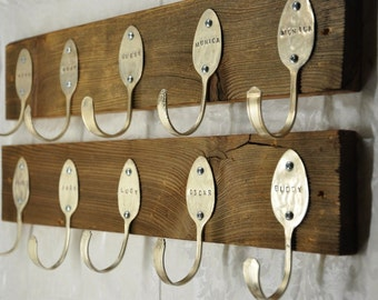 1 Personalized Spoons Coat Rack Recycled Silverware