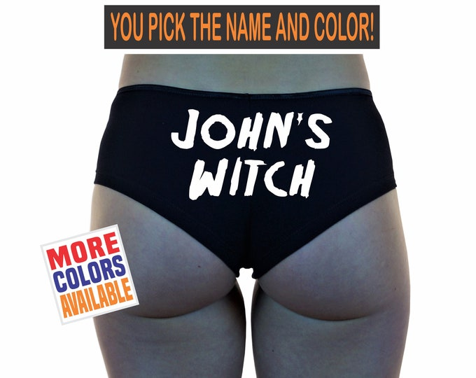 CUSTOM NAME'S WITCH Boyshorts Underwear Panties Boy Short Undies Sexy Hot Personalized Customized Your Text Husband Boyfriend Gift Halloween