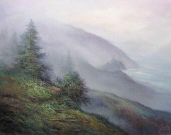 Big Sur, Mountain Landscape , Original Oil Painting, California landscape,  Fine art,  by Griselda Tello.