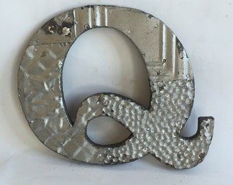 """Tin Ceiling Wrapped 8"""" Patchwork Reclaimed Metal Silver Letter """"Q"""" Mosaic Wall Hanging 26107-16i"""