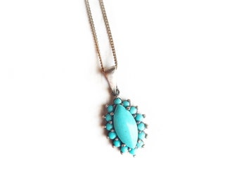 """Vintage Sterling Silver & Turquoise Cabochon Boho Pendant With 16"""" Silver Chain ~ Southwestern Jewelry"""