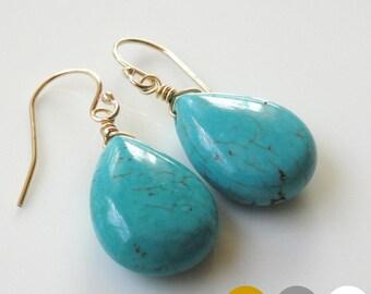 Gemstone Drop Earrings- Turquoise Teardrop Earrings- Amazonite- Jade- Chalcedony- Crystal- Lapis Lazuli- Agate- Labradorite- Quartz- EGS-G2
