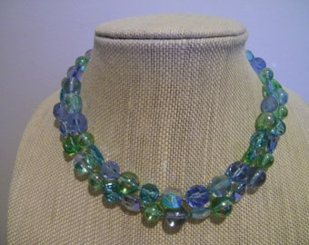 Vintage Blue Green Glass Bead Double Strand Choker Necklace