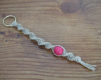 Macrame Hemp Beaded Spiral Key Fob / Key Chain / Key Ring