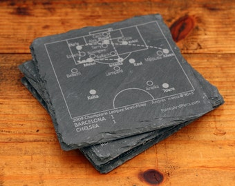 Barcelona Greatest Plays - Slate Coasters (Set of 4)
