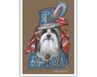 Havanese Art Print - Lady - Dogs in Clothes Art - Toy Dog Fashion - Pet Kingdom by Maria Pishvanova